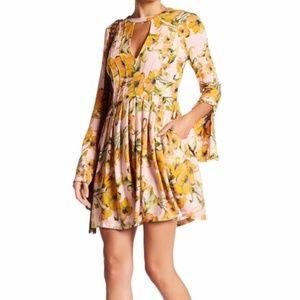 Free People Tegan Pink Floral Long Sleeve Dress